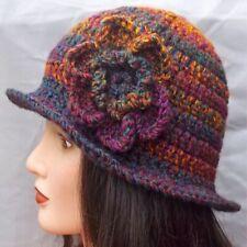 LADIES WINTER CHUNKY CLOCHE HAT purple floral warm bucket Gatsby woman beanie 27