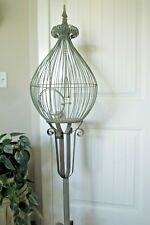 Tall Iron Bird Cage Tear Drop Shape Round Swing Door Ornate Scrolls Stand