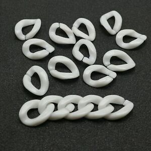 100 White Acrylic Flat Twist Oval Linking Rings Open Chain Beads 23X17mm