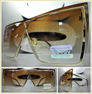 Übergröße Vintage Retro Flach Shield Stil Sonnenbrille Gold Metallrahmen Honig