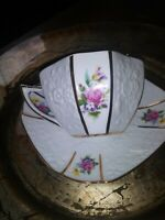 Beautiful Octagonal White & Flower Tea Cup And Saucer. EUC.
