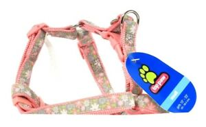 """1 Count Top Paw Small Girth 13"""" To 23"""" Pink Gray Flowers Adjustable Harness"""