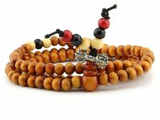 Real Wooden Buddhist Prayer Yoga Mala spiritual Meditation Healing 6MM Bracelet