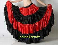 Red & Black Satin 12 Yard Tiered Gypsy Skirt Belly Dance Ruffle Jupe Flamenco