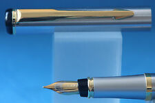 New Baoer No. 801 Flighter Brushed Steel Fine Fountain Pen with Gold Plated Trim