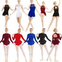 Adult Women Gymnastics Ballet Dance Leotard Dress Skirt Girls Dancewear Costume