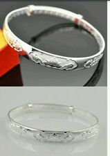 UK stamped 925 SILVER P bangle extendable craved lady girl friend christmas gift