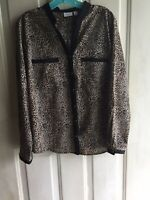 Women's Kim Rogers Blouse/Top  Black/Beige/Animal Print Long Sleeve L Excellent!