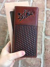Western Bi-Fold Men's Texas Rodeo Long Wallet Quality Genuine Leather