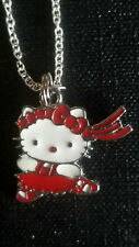 Hello Kitty Ribbon Dancing Ballerina Red Pendant charm necklace