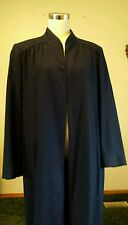 VTG WOMENS DRESSY NAVY BLUE WOOL LINED LONG TRENCH COAT BELTED SZ L 12 / 14