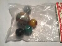 Vintage Marbles, New in Pkg 1 Shooter & 4 Marbles, Alox Agates