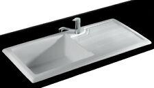 Luxus Spülstein Spüle Keramikspüle Küche Abperl-Effekt Restebecken Küchenspüle N