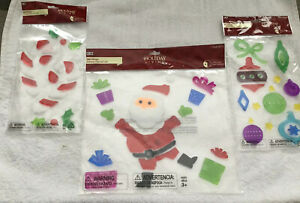 Holiday Living Christmas Gel Clings Santa, Candy Cane, Ornaments