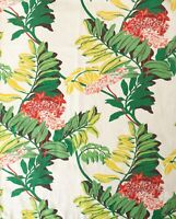 True Vintage Deco Tropical Print Orchid Barkcloth Curtains Drapes 4 Panels