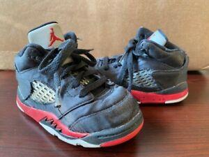 Nike Air Jordan Retro 5 Satin Bred Black/University Red (TD) 440890 006 Size 7C
