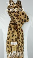 DG Pashmina Scarf Shawl Black Brown Cheetah Leopard Print~Silk Cashmere-Soft*