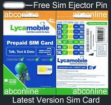 LYCAMOBILE PREPAID 3 IN 1 SIZE SIM CARD KIT FOR ANY GSM UNLOCKED SMARTPHONE NEW