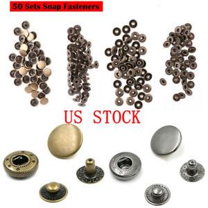 50 Sets Metal Copper Snap Fastener Press Stud Button 10mm for Clothes Jacket Bag