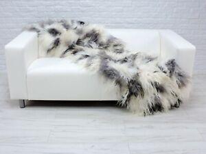 Icelandic Patchwork Sheepskin Throw Rug Genuine Soft Fur Natural Shaggy DM17
