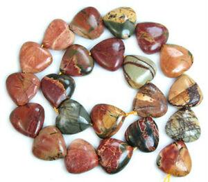 "14mm Natural Multi-color Picasso Jasper Gemstones Heart Loose Beads 15""   2pcs"