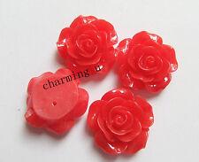 3pz abbellimenti fiore  CABOCHON in resina  Scrapbooking 20x8mm colore rosso