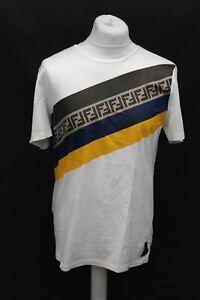 FENDI Men's White Cotton Crew Neck Short Sleeve Graphic Print T-Shirt XL