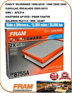 FRAM EXTRA GUARD AIR FILTER CA8755A / AF1052 CA8756 BALDWIN PA4113 WIX 42487