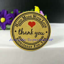 240 Round Paper Labels 'Thank you, Hand made with love' Gift Food Craft Stickers