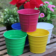 Metal Basket Bucket Planters Pot Assorted Colors Set of 5 For Plant and Flower