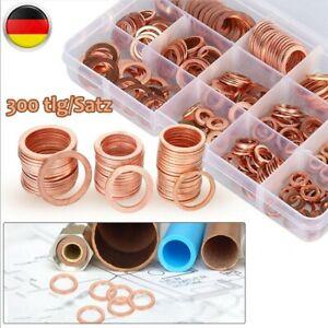 300-Kupferringe Dichtring Sortiment Set Kupfer Dichtungen Ölablaßschrauben Box