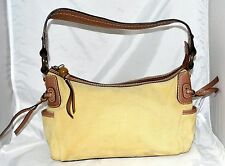 Fossil Beige Fabric & Brown Leather Shoulder Bag w/ Multi Colored Striped Lining