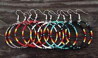 """5 PAIR LOT Native American Style 1.5"""" Beaded Hoop Earrings"""