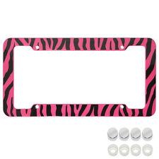 UAA® 1 ZEBRA PRINT Pink/Black car truck Plastic License Plate Frame & Screw Caps