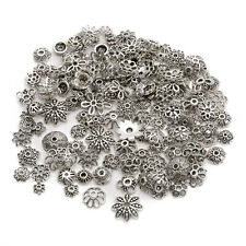 Wholesale 150pcs Lot Mixed Jewelry Making DIY Tibetan Silver Flower Bead Cap-AW