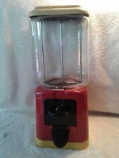 Vintage 1950-60's Oak 1-Cent Bubble Gum Machine no key Glass Globe  no key