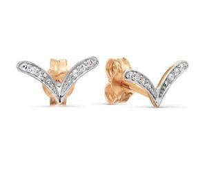 585 14k 14Karat Russian Rose Gold Diamond  Earrings V Shape Fashion Trendy