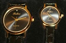 Vintage BELLINI Watch Set - Black & Gold with Diamond and Genuine Leather Strap