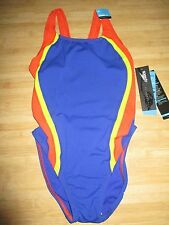 NEW Speedo Size 6 32 ATHLETIC Swimsuit RACING Performance Red Blue $66 Retail