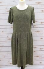 BNWT LuLaRoe Amelia Solid Olive Green Embroided Floral Dress Size 2XL