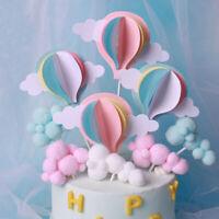 3Pcs/6Pcs White Cloud Birthday Cake Toppers Kids Baby Boy Girl DIY Party Decors