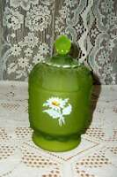 HOLLYWOOD REGENCY MCM CHIC WESTMORELAND GREEN SATIN LIDDED DAISY DISH SHABBY