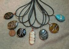 5 Gemstone/ Stone Pendant Beads w/ Decorative Wire Wrap on Cords- 25mm to 40mm