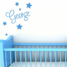 Personalised Name With Stars Wall Art Custom Boys Bedroom Vinyl Kids Sticker