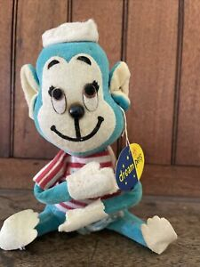 VTG  RARE 60'S DAKIN Dream Pets Blue Mariner MONKEY Sawdust Stuffed Animal JAPAN