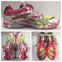 WOMENS ASICS GEL NOOSA TRI 6 RUNNING SHOES SIZE 10.5 YELLOW PINK WHITE T163N