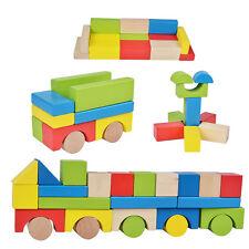 75 Bauklötze holz natur bunt holzbausteine Spielzeug für Kinder und baby ab 18M