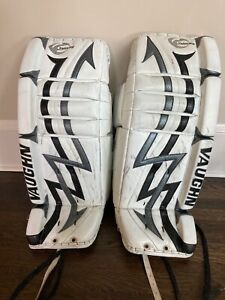 Vaughn Velocity V3 7300 31+1 Goalie Leg Pads White with Black and Silver