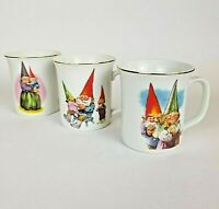 Rien Pourtvliet Gnome Mugs Set of 3 Cups 1982 Gold Trim Accents