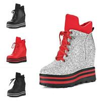 Women Glitter Sequins Round Toe Platform  Lace Up Wedge Heels Ankle Boots Bty15